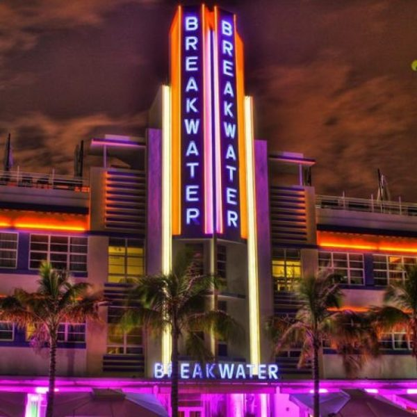 hotel with neon lights